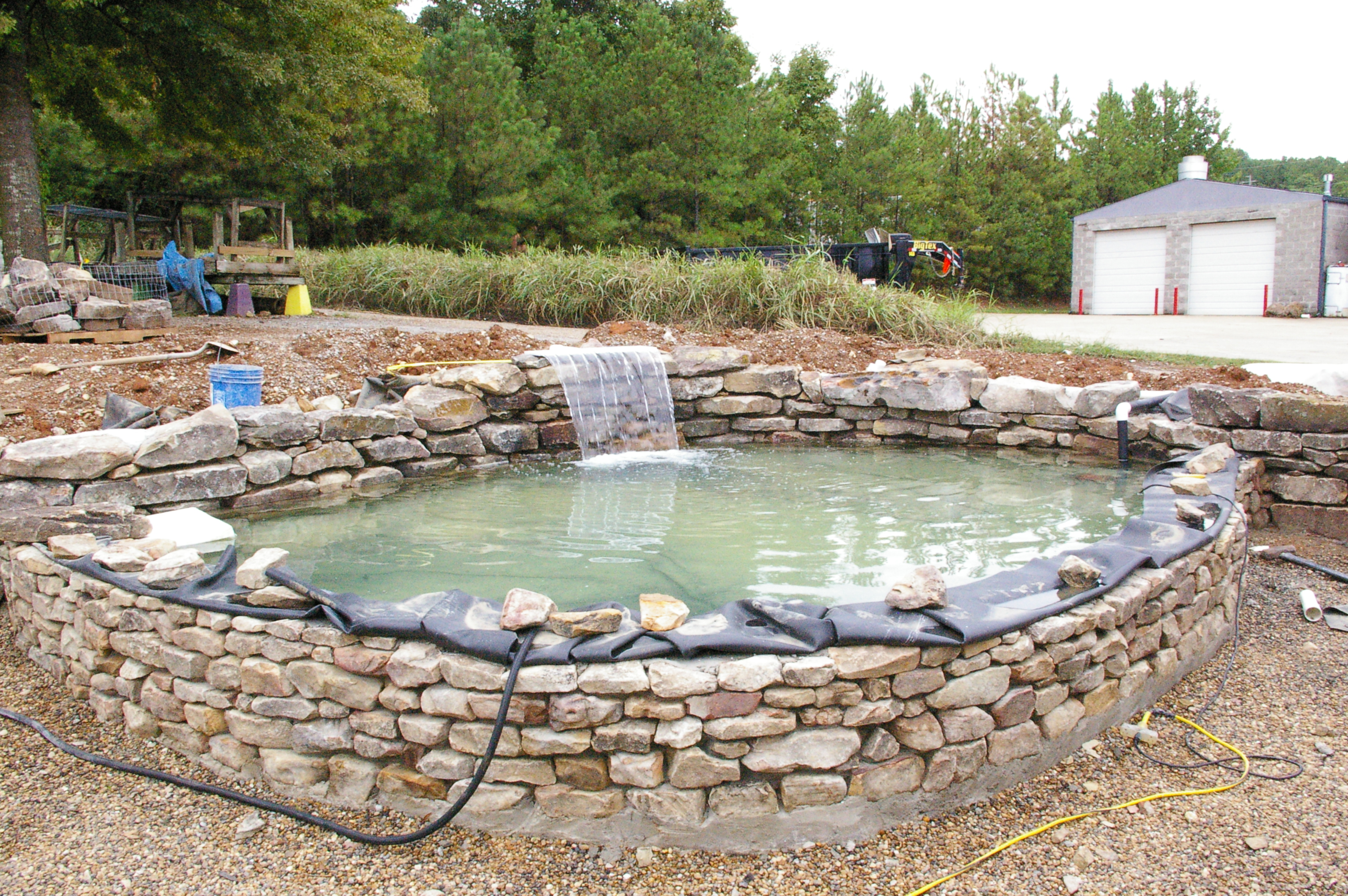 Raised Pond Patio And Bench Midway